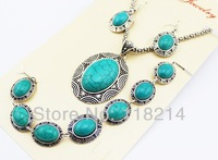 Free Shipping Euro-American Style Jewelry Sets Vintage Oval Turquoise Jewelry Sets Fashion Bridal Jewelry DJS110