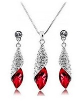 S051 Austria Elements Marquise Crystal Jewelry Delicate Graceful Earrings&Necklace White Gold Plated Crystal Sets  Free Shipping