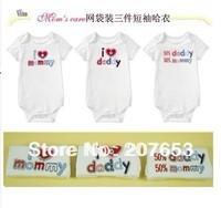 free shipping 12pcs /lot  baby clothing baby bodysuit I love dad &mum short sleeve jumpsuit w/ gift bag 4 pack new born clothing
