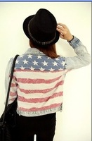 Free Shipping ! Hot Sales Classic Retro Washing Vintage with the American Flag Boyfriend Style Women's Denim Jackets Coats