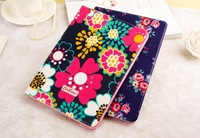 1pcs New arrival Flowers Canvas PU leather case For Apple ipad air case, For ipad air High quality case cover with stand