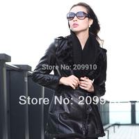 Fashion winter Dress double breasted slim leather clothing PU medium-long leather female coat plus size 3XL