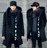 Male trench slim with a hood cardigan trench 2013 autumn and winter medium-long trench outerwear