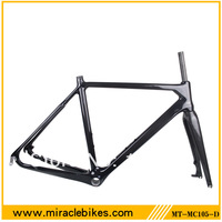 Miracle bike full carbon cyclocross frame disc brake/V brake 3k/UD finish