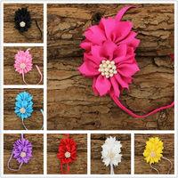 Baby headbands ballerina girl headband ruffle chiffon fabric flower headbands Girl hair Accessory photography prop 12pcs/lot