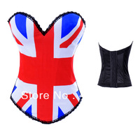 Free Shipping Sexy Corset Women British flag design Lace up Bustier Corset Set Lingerie S M L XL XXL