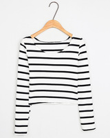 Harajuku stripe pullover o-neck long-sleeve shirt basic T-shirt women's slim top 214598c  25
