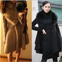 2013 hot !! New fashion women wool coats fake fur female woolen outerwear fur collar medium-long blended wool coat