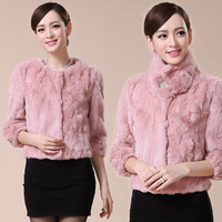 2013 fur coat rex rabbit hair short design female slim wrist-length sleeve  natural fur coats overcoat  free shipping