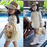 2014 HOT Kids Toddlers Girls Princess Party Vintage Lace Dress Tutu Floral 3-8Y