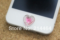 Free shipping Peach Heart Crystal diamond Home Button Stickers for Iphone 4g 4g 5 DIY Mobile Sticker