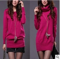 Korean  new women's casual spring loose Mid Length knitted sweater coat bottoming shirt