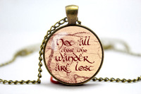 Lord of the Rings Not all who wander are lost on middle earth map glass cabochon dome Pendant necklace