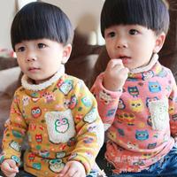 New Warm fleece Winter-Spring long sleeve Children T shirt Cartoon Owl Brand child Kids t-shirt girls boys turtleneck clothes
