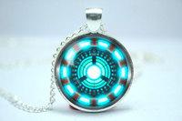 10pcs/lot Handmade Iron Man, Tony Stark Arc Reactor inspired glass cabochon dome pendant necklace