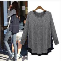 Fashion star 2014 autumn and winter thickening chiffon patchwork o-neck long-sleeve T-shirt basic shirt top