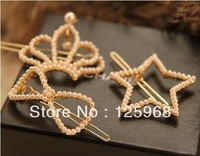 Free Shipping!2013 New Stylish Wholesale Christmas Gifts Crown/Bow/Star Hair Slides Clip Pearls Hair Accessories