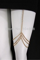 FREE SHIPPING 2014 New Women Gold Thigh Leg Metal Chain Garter Hugging Strand Fashion Body Jewelry