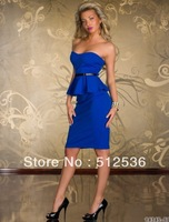 2014 Fashion Ladies Off Shoulder Woman Dress Punk Club Wear Wrapped Chest Mini Peplum M L XL