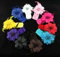 13 color Girls Feather Headband  Flower With Feather Baby Hairbands Infant Knitting Hair Weave,Baby feather hair Free shipping