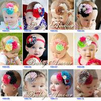 Epacket Free 34 Design Baby Headband Infant girls Shabby chiffon flower hair accessories with rhinestone , sequin bowknot
