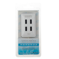 SIYOTEAM SY-H12 Stylish Compact High Speed 4-Port USB 2.0 HUB w/ USB Power Adapter - White + Black