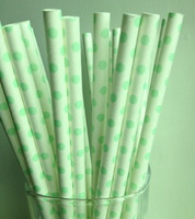 Free Shipping 25pcs Paper Straws,54# White Drinking Paper Straws With Little Green Point Banquet Wedding Decoration