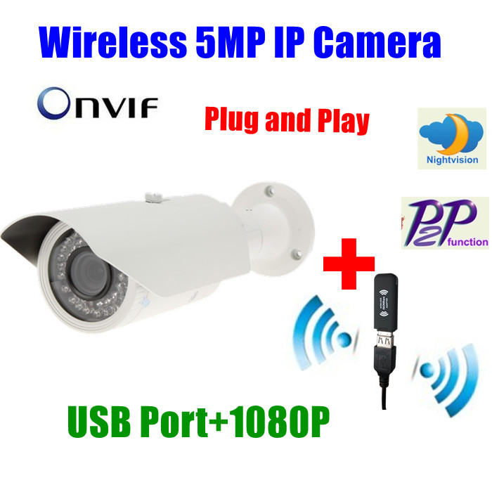 ( 5 Mp IP camera + WiFi adaptor ) / lot P2P USB wireless wifi 5 Megapixel outdoor waterproof nightvision ir network 1080P HD(China (Mainland))