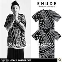 Free shipping 2013 hot La rhude bandana print tee west coast Men short-sleeve t-shirt male shirt