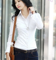 Women's fashion slim white new arrival basic shirt women's long-sleeve tooling