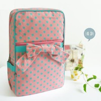 Canvas women's bow handbag polka dot backpack casual student school bag fresh small school bag