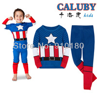 6 sets/lot Cartoon Captain America boys girls Pajamas Children's Cotton suits baby pyjamas/pyjams/sleepwear