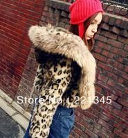2014!! plus size leopard print raccoon fur collar outerwear luxury short design faux leopard print outerwear