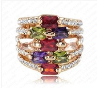 free  shipping Factory direct sale of gold color preserving 18 k gold Austrian crystals set zircon wholesale high-grade ring