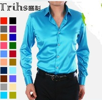 Solid color commercial shirt faux silk male shirt long-sleeve dj costume shirt