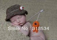 Baby crochet hat newborn hat boys handmade fisherman caps with fish kids bucket hat newborn baby photography prop Free shipping