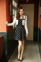 Summer Spring korean Style Girls' Slim Long Sleeve Two Sets Dot fashion Coat+Dress Cotton high quality M L XL XXL Red Blue Black