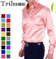 Drop Shipping Solid color faux silk silks and satins shirt male long-sleeve shirt slim shiny costume shirt   free shipping