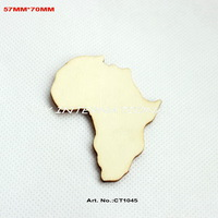 (60PCS/LOT) Blank  wood crafts wooden home decorations card gift Africa map-CT1045