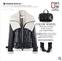 2013 new winter double-lapel wool cashmere suede leather motorcycle jackets for women!