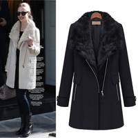 free shipping Fashion women's thermal 2013 twinset outerwear woolen medium-long vest wool coat parkas