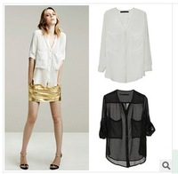 Hot-selling  fashion Women chiffon shirt black and white solid color long-sleeve shirt female perspective large pocket casual