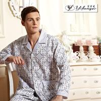 free shipping Male thickening winter long-sleeve sleepwear entresol 100% cotton plus size the elderly lounge set