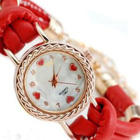 High Quality 2014 New Arrival Fashion Brand Unique Golden Leather Quartz Dress Watches Luxury Casual Wristwatches for Women Red