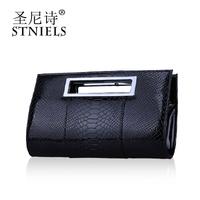 fashion crocodile pattern glossy women's japanned leather handbag day fixiform banquet bag clutch bag free shipping