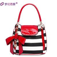Drop Shipping Dream women's shoulder bag handbag messenger bag fashion color block the banquet bag bow black and white stripe