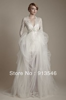 Free Shipping 2014 New Arrival Style BD-438 V Neck Full Sleeve Lace Beaded Crystal Tulle Wedding Dresses