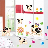 New Fashion Cute Dog Wall Stickers Dogs footprints Sticker Child Kids Bedroom Decals Home Decoration Nursery Art Cartoon Poster