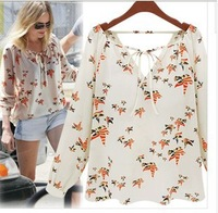 New Fashion Ladies' elegant floral print blouse V-neck casual vintage shirt slim high quality brand designer tops