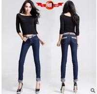free shipping roll-up elastic snowflake women's skinny pencil jeans /slim mid waist ladies demin pants 26-32 blue women 's jeans